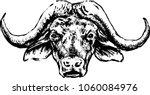 buffalo head on a white... | Shutterstock .eps vector #1060084976