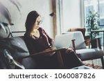 young beautiful blonde woman... | Shutterstock . vector #1060087826