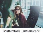 attractive young businesswoman... | Shutterstock . vector #1060087970