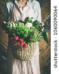 female farmer in linen apron... | Shutterstock . vector #1060090064