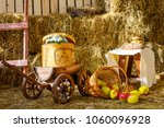 Small photo of hay farm apples cart cart cart barrel barn Sunny day