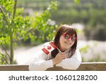 young happy pretty caucasian... | Shutterstock . vector #1060128200