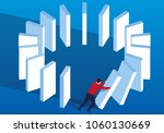 businessman pushes down dominoes | Shutterstock .eps vector #1060130669