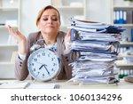 businesswoman workaholic trying ... | Shutterstock . vector #1060134296
