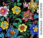 colorful floral seamless vector ... | Shutterstock .eps vector #1060139300