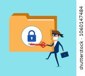 thief. hacker holds key... | Shutterstock .eps vector #1060147484