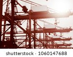 container operation in the port. | Shutterstock . vector #1060147688