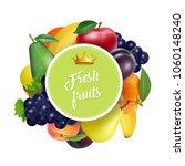 juicy ripe sweet fruit. vector... | Shutterstock .eps vector #1060148240