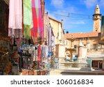 Old City of Jerusalem - Christian Quarter. Jerusalem,Israel - stock photo