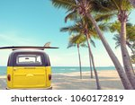 rear of vintage car parked on... | Shutterstock . vector #1060172819