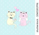bride and bridegroom cats... | Shutterstock .eps vector #1060181996