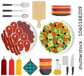 barbecue party tools and food.... | Shutterstock .eps vector #1060188209