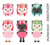 vector cartoon unicorn girls in ... | Shutterstock .eps vector #1060191659