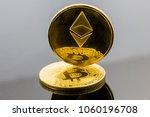 gold etherium token on bitcoin... | Shutterstock . vector #1060196708