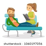 caucasian white patient sitting ... | Shutterstock .eps vector #1060197056