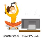 excited caucasian white gamer... | Shutterstock .eps vector #1060197068