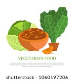 vegetarian food  colorful... | Shutterstock .eps vector #1060197206