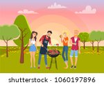 barbecue picnic on green nature ... | Shutterstock .eps vector #1060197896