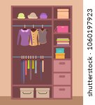 wooden wardrobe with bright... | Shutterstock .eps vector #1060197923