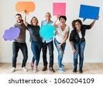 people carrying speech bubble... | Shutterstock . vector #1060204109