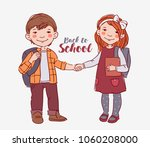 funny  smiling kids. boy and... | Shutterstock .eps vector #1060208000