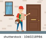 delivery man with parcel... | Shutterstock .eps vector #1060218986