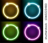 colorful neon light circle ring ... | Shutterstock .eps vector #1060223483