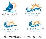 sea waves logo set  sun waves... | Shutterstock .eps vector #1060257368