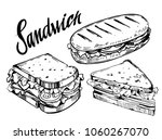 Sketch Of Sandwich. Hand Drawn...