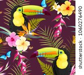 toucans and flowers | Shutterstock .eps vector #1060276490