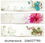 floral banners vector retro...