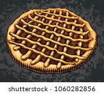 hand drawn pie in engraving... | Shutterstock .eps vector #1060282856