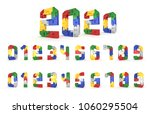 colorful number block brick... | Shutterstock . vector #1060295504