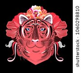 vector portrait of a red tiger. ... | Shutterstock .eps vector #1060298810