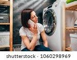 woman wearing white shirt... | Shutterstock . vector #1060298969