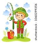 young boy was going fishing.... | Shutterstock .eps vector #1060299356