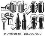 set of hands with beer in... | Shutterstock .eps vector #1060307030