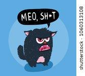 cute monster kitten with text.... | Shutterstock . vector #1060313108