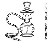 hand drawn hookah illustration...   Shutterstock .eps vector #1060313318