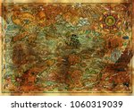 ancient treasures map with... | Shutterstock . vector #1060319039