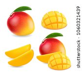 mango realistic fruit whole and ... | Shutterstock .eps vector #1060321439