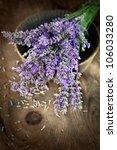 Fresh lavender over wooden background. Summer floral background with lavender flowers and wood. - stock photo
