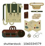 isolated set of travel bags ... | Shutterstock .eps vector #1060334579