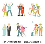 set of senior man and woman... | Shutterstock .eps vector #1060338056