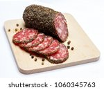 dried organic salami sausage... | Shutterstock . vector #1060345763