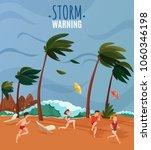 seaside landscape with storm...   Shutterstock .eps vector #1060346198