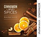 cinnamon sticks  orange slices  ... | Shutterstock .eps vector #1060346228