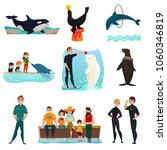 Dolphinarium Icons Set With...