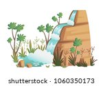 Waterfall. Cartoon Landscapes...