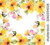 yellow flowers. watercolor... | Shutterstock . vector #1060354028